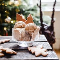 Gingerbread Ice Cream in a bowl with biscuits on a wooden table