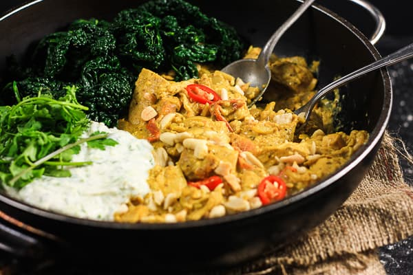 Turkey Peanut and Kale Curry with Cucumber and Coriander Raita
