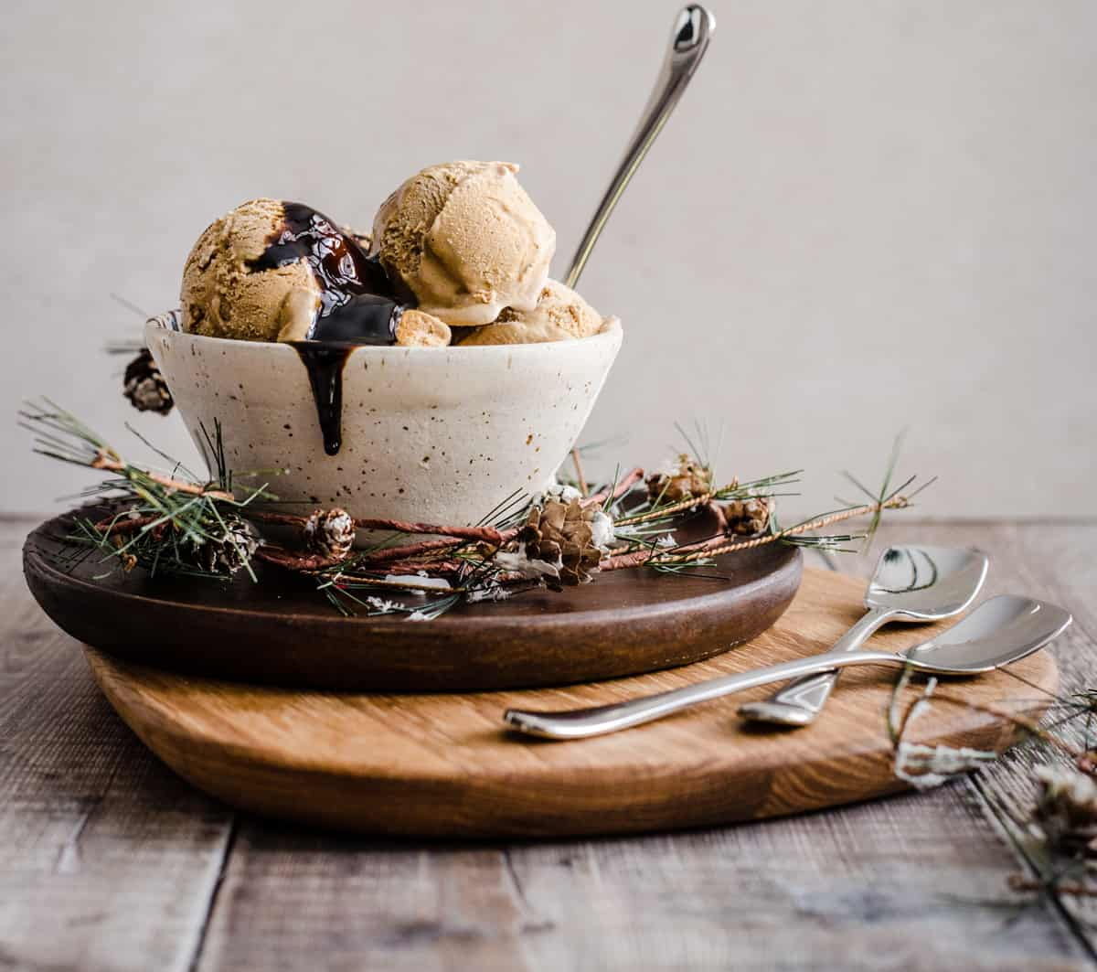 ice cream in a bowl with a spoon