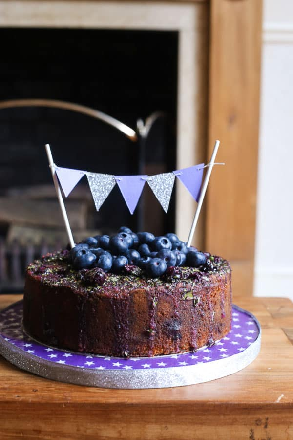 Blueberry Basil Lemon Drizzle Cake