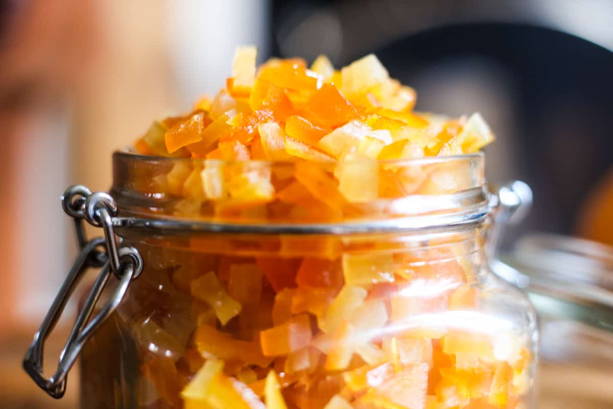 Close up of Homemade Mixed Peel in a jar