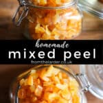 pin image of mixed peel. Two close up images of mixed peel in jars with title text between them