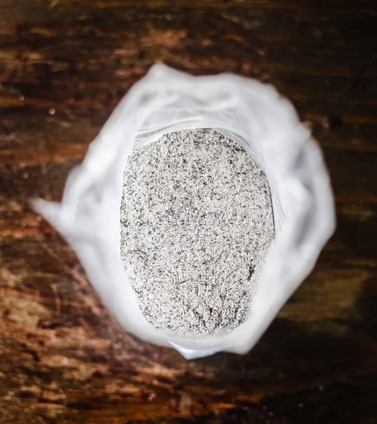 overhead shot of buckwheat flour in a bag