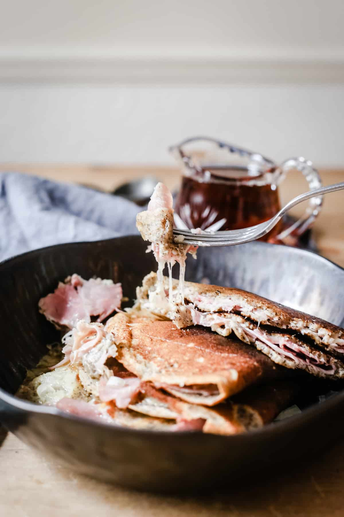 Maple Galettes with Wiltshire Ham and Gruyere