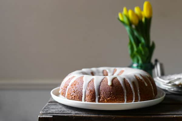 Vanilla Almond Cake with Lemon Curd Glaze {gluten-free}