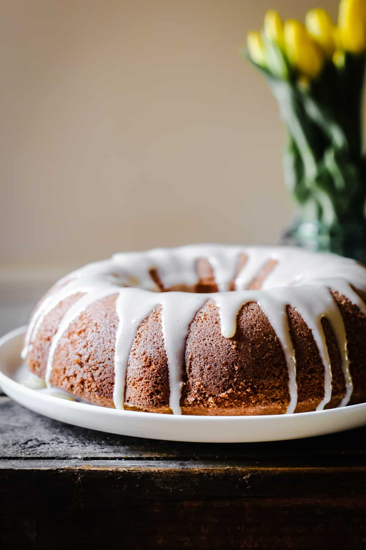 Vanilla Almond Cake with Lemon Curd Glaze {gluten-free}