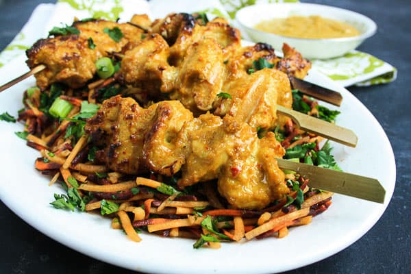 Cashew Chicken Satay with Carrot and Coriander Salad