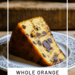 pin image of a slice of orange cake with chocolate chips with title underneath