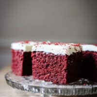 A plate of Gluten-Free Red Velvet Cake slices