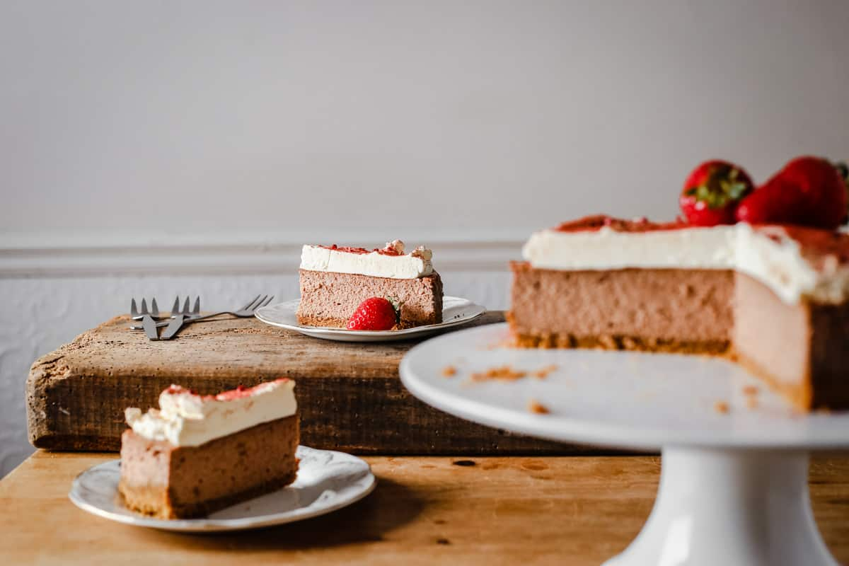 Strawberry Pink Peppercorn Cheesecake