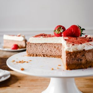 Strawberry Pink Peppercorn Cheesecake {gluten-free}