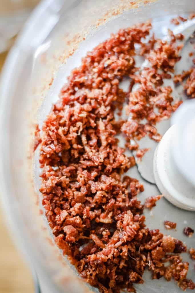 Crumbled bacon in a food processor