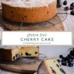 two images of gluten-free cherry cake. one of the whole cake and the other with a cut slice of cake