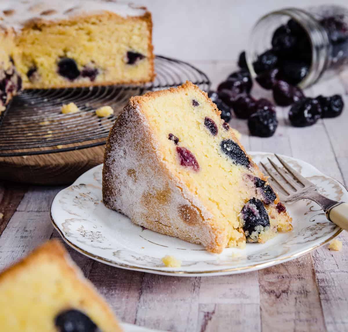 slice of cherry cake on a plate