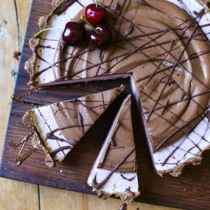 No-Bake Frozen Cherry Chocolate Pie {gluten-free}