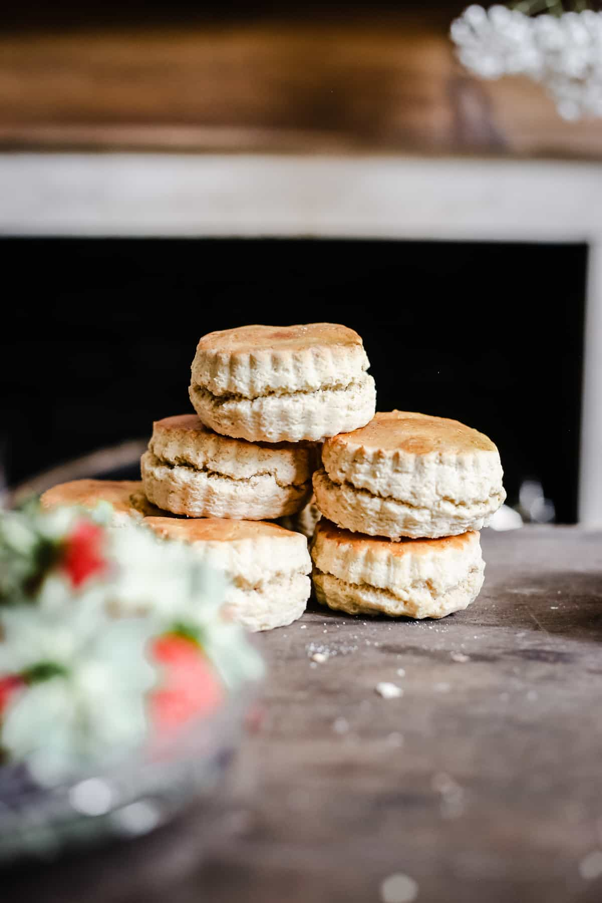 side shot of a stack of gluten-free scones