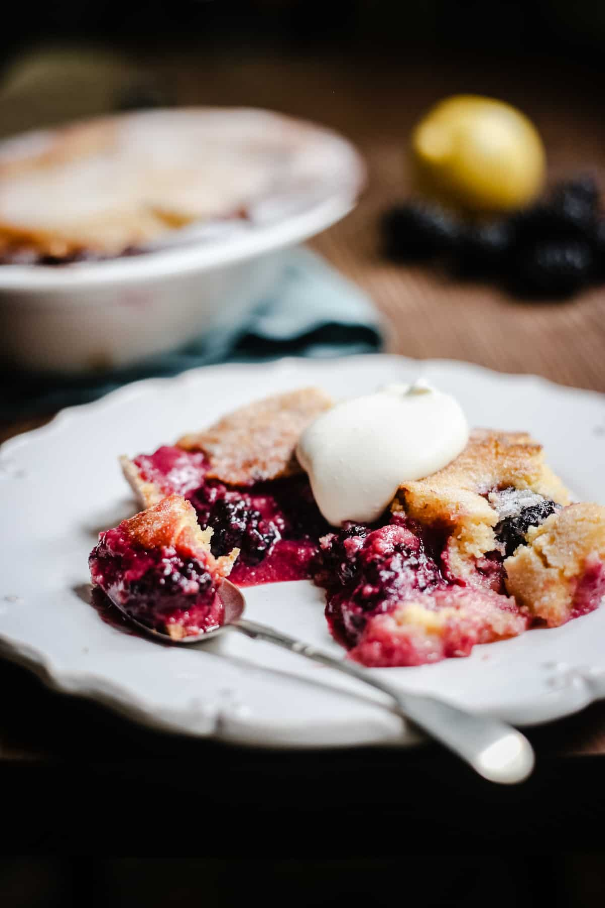 Blackberry Lemon Pudding on a plate