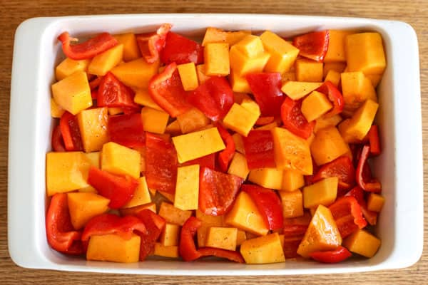 Butternut Squash and Red Peppers in a roasting dish