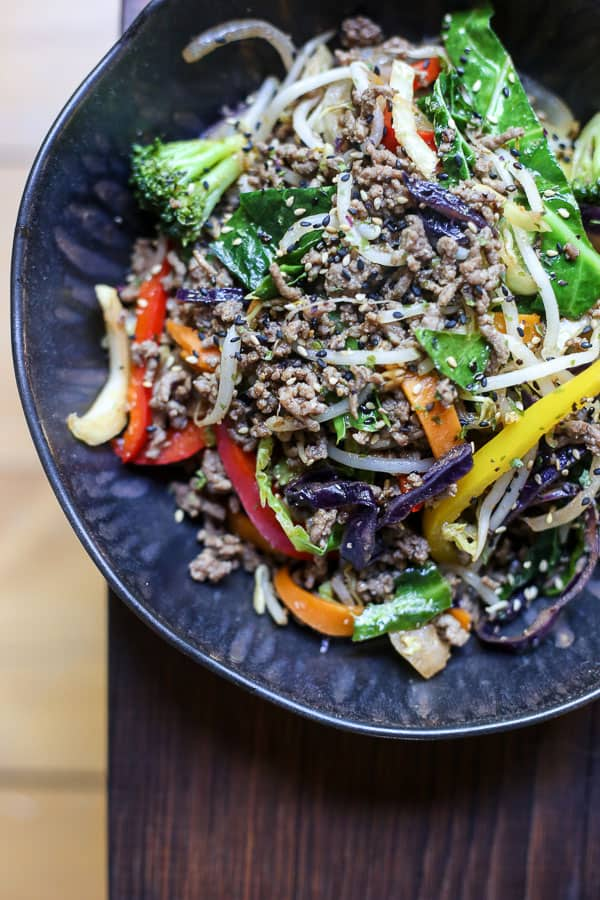 Sriracha Honey Beef Stir Fry in a bowl on a table