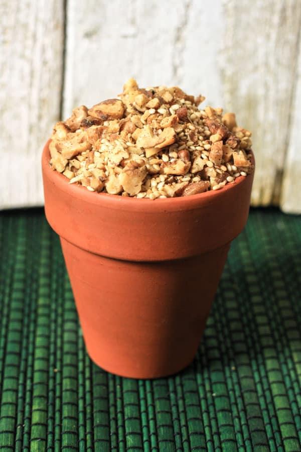 Walnut Dukkah in a pot