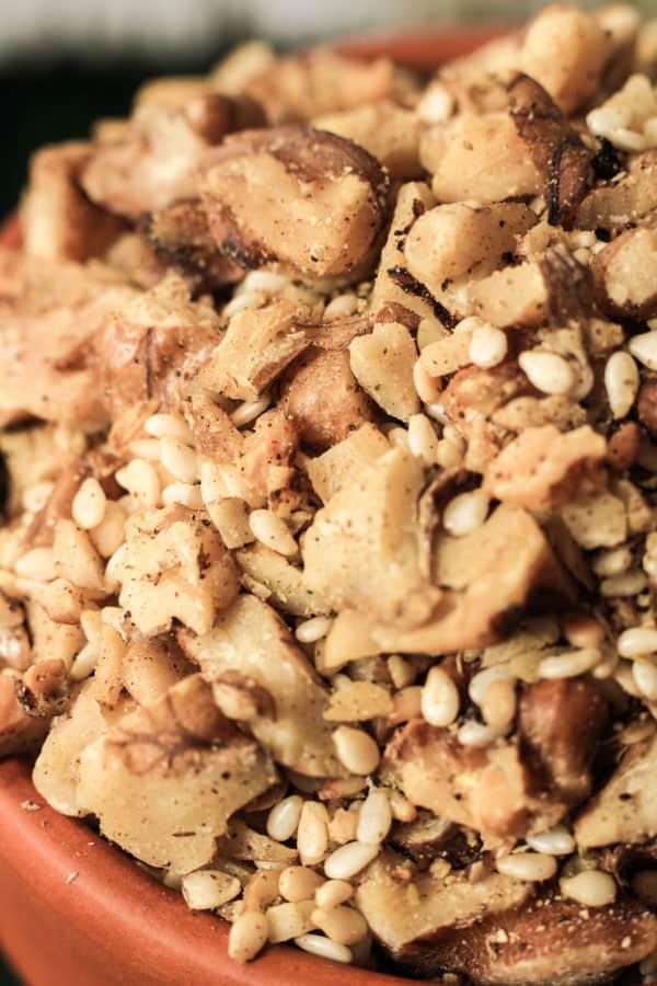 Close up of Walnut Dukkah