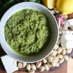 overhead shot of a bowl of Feta Pistachio Mint Pesto