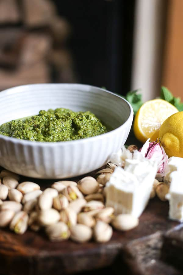 side shot of a bowl of Feta Pistachio Mint Pesto