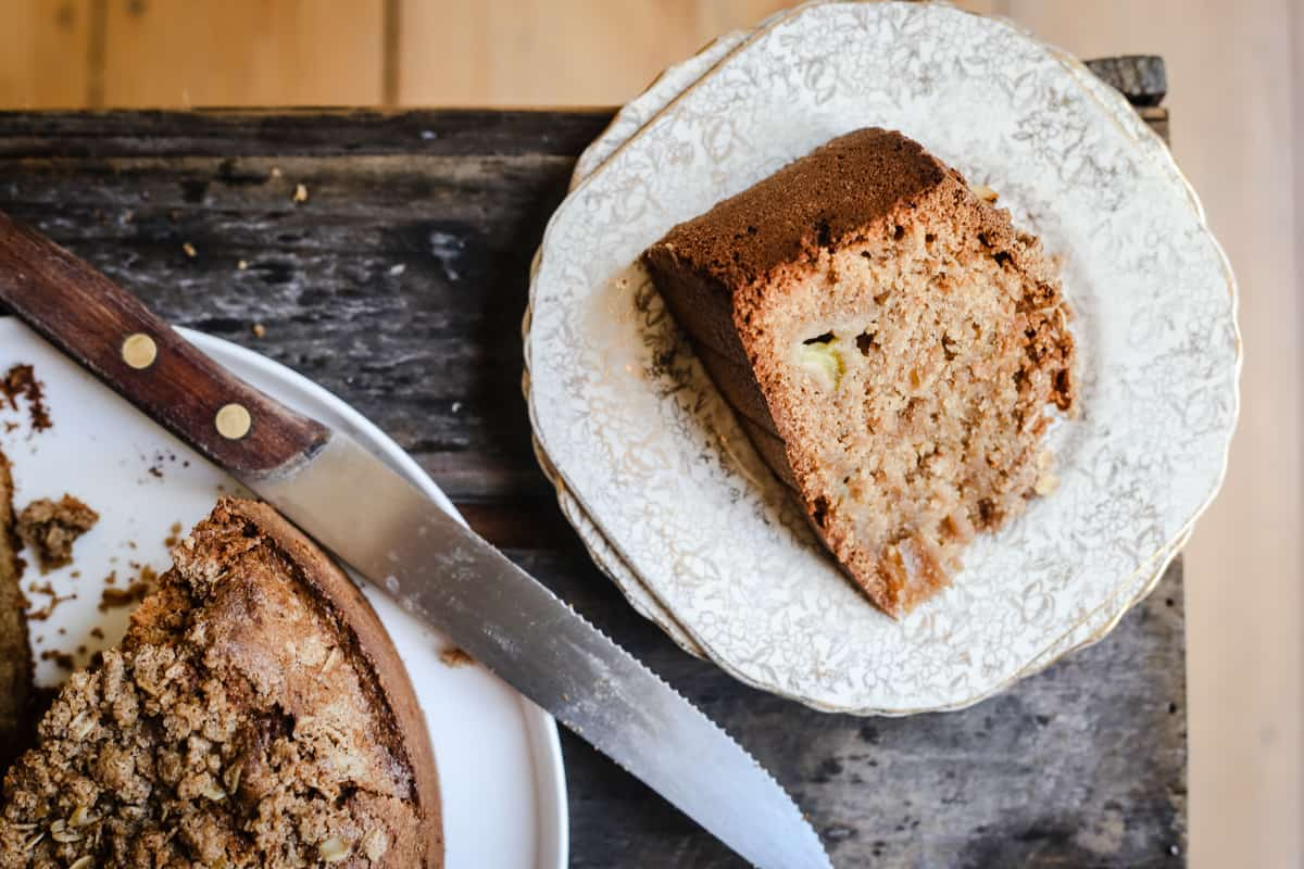overhead shot of a slice of Green Tomato and Stem Ginger Cake with Streusel Topping {gluten-free} on a plate