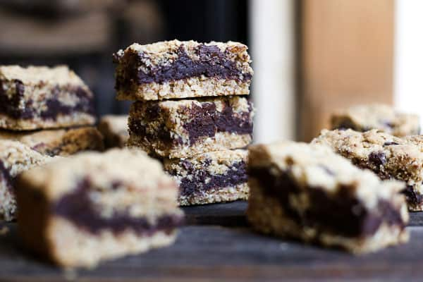 A stack of Nutella Fudge Oat Bars