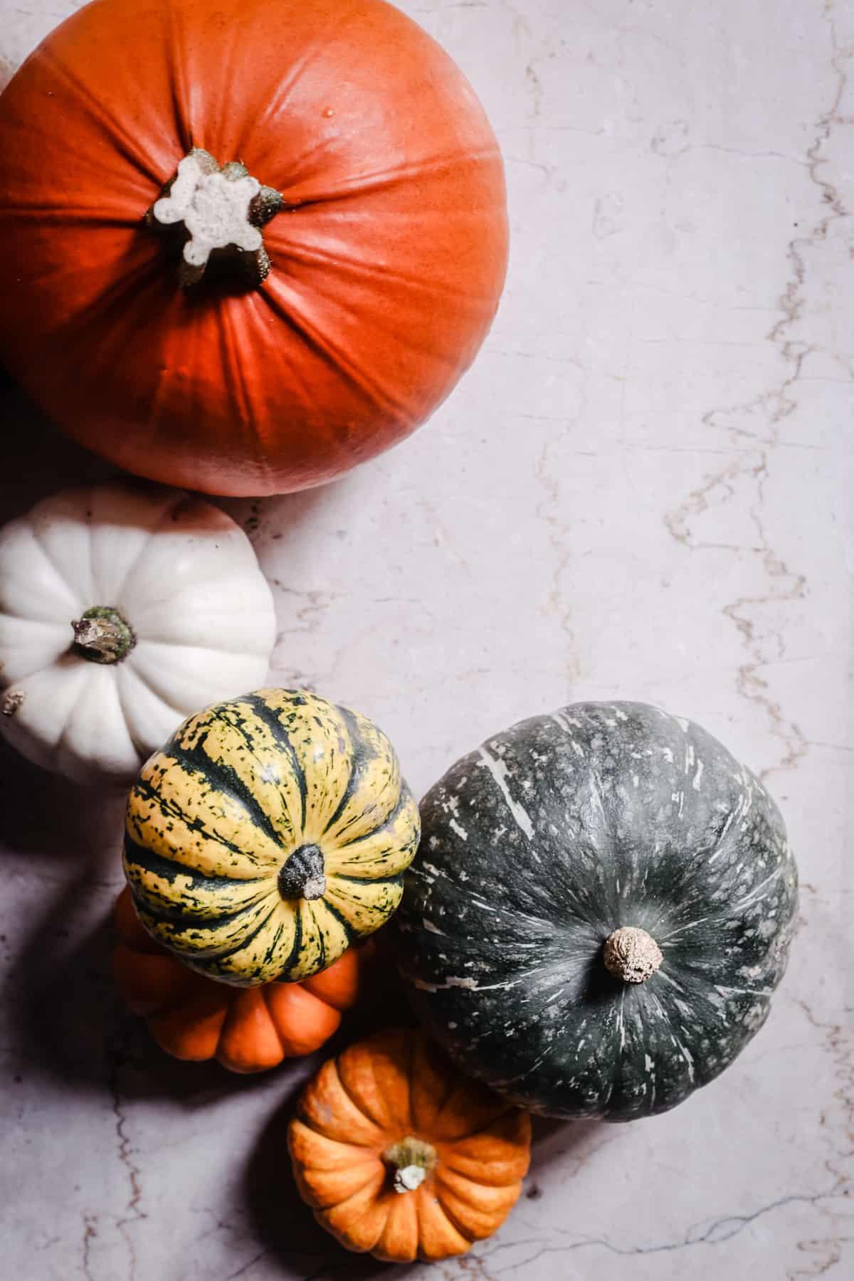 overhead shot of pumpkins