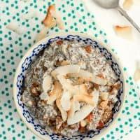 overhead shot of Grain-Free Coconut Chia Porridge in a bowl
