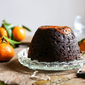 Chocolate Chip Clementine Christmas Pudding with Cointreau Sauce {gluten-free}
