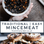 Pin image for mincemeat recipe. Two images, one a close up of a bowl of mincemeat and the other a plate of mince pies. With title text overlay