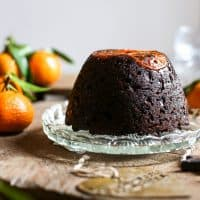 Chocolate Chip Clementine Christmas Pudding with Cointreau Sauce