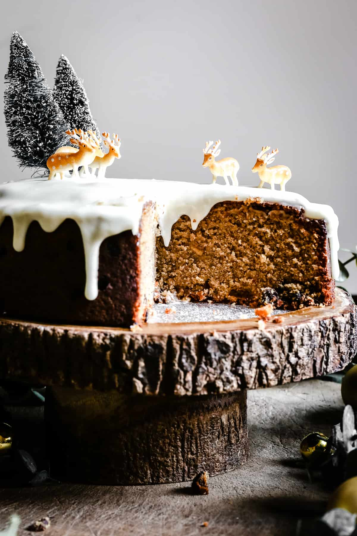 Close up of Almond & Mincemeat Christmas Sponge Cake with slice taken out