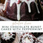 Pin image of Mini Chocolate Bundt Cakes with Peppermint. One image is a close up of the cake, the other is of the cakes from overhead. With title text in between the images.