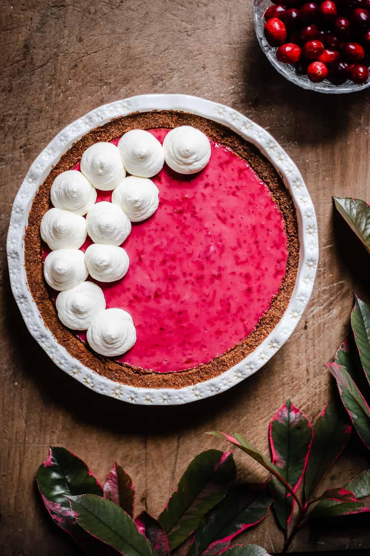 overhead view of Cranberry Cream Pie