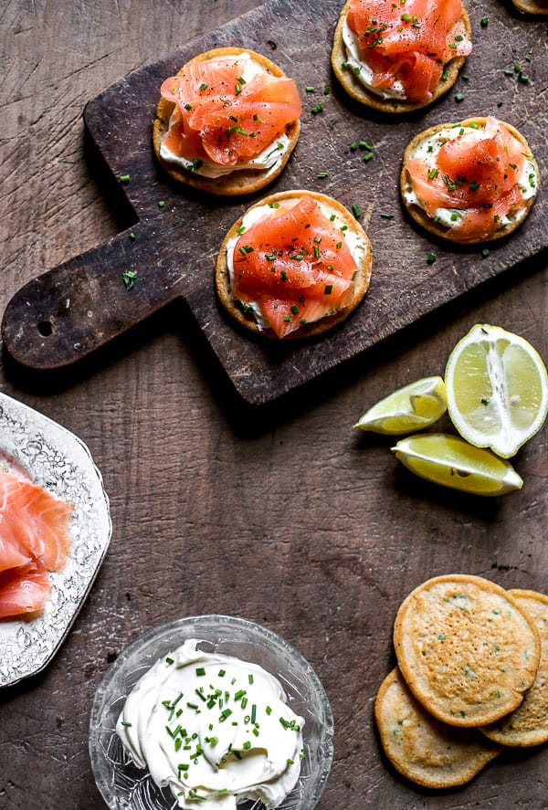 overhead view of Smoked Salmon on Potato Pancakes with Whipped Cream Cheese