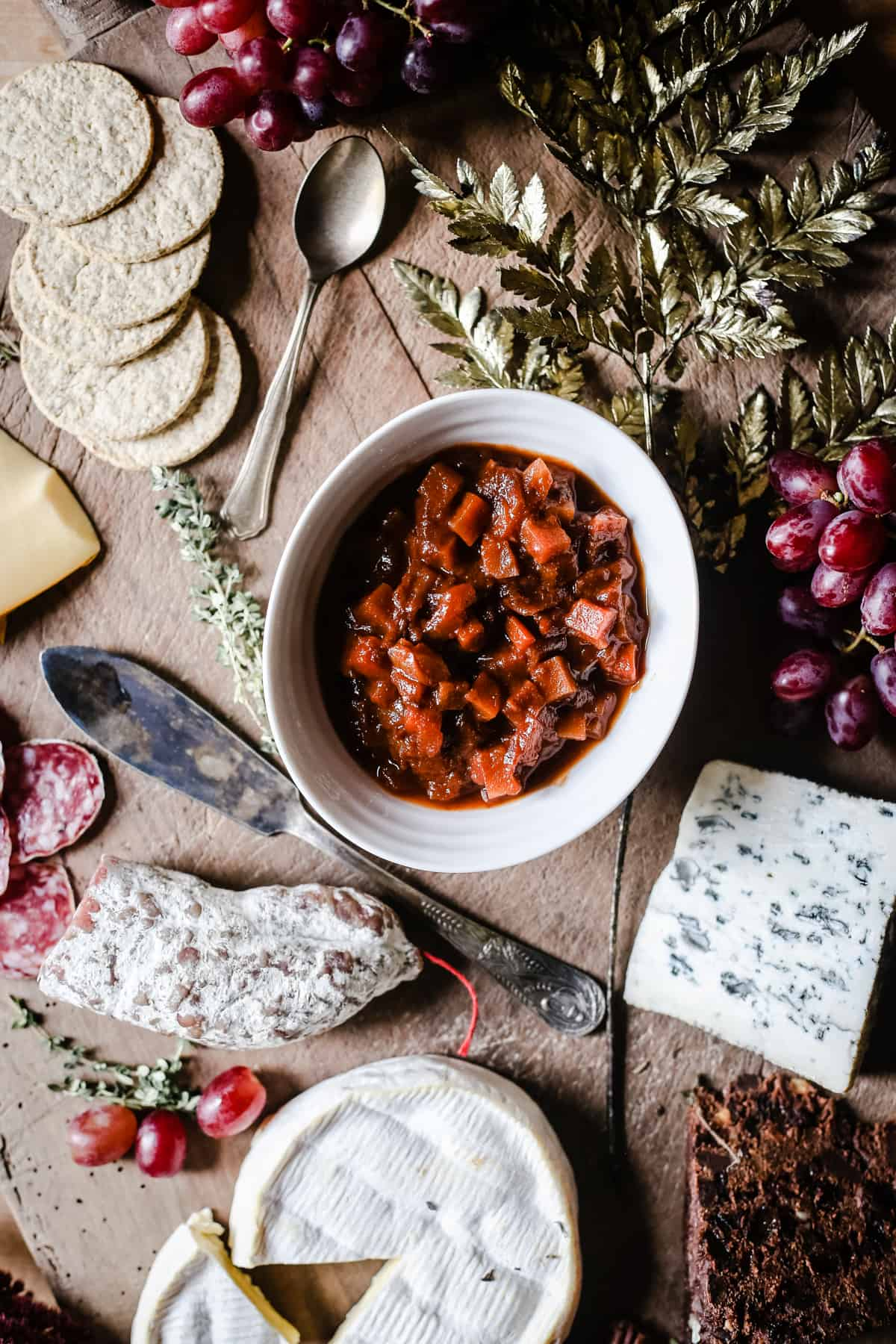 overhead shot of Boxing Day Ale Chutney in the middle of a cheeseboard