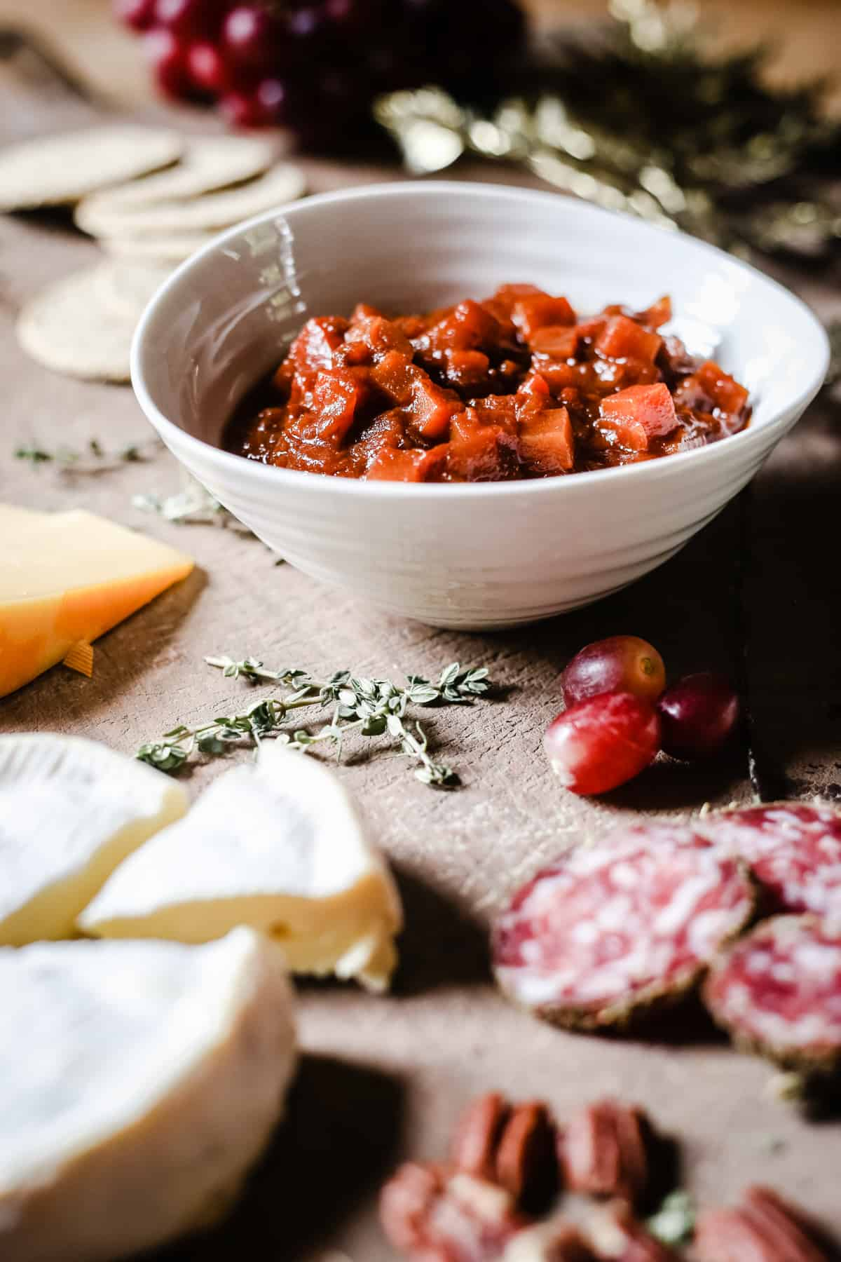 mid shot of Boxing Day Ale Chutney in the middle of a cheeseboard