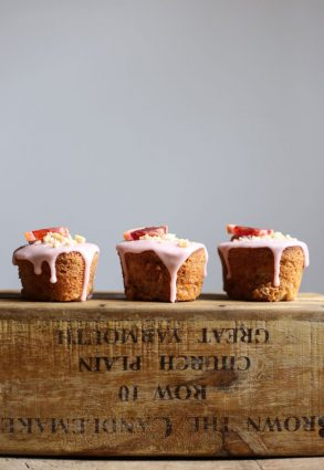 Blood Orange Buckwheat Hazelnut Friands resting on a wooden box