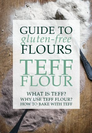 overhead view of teff flour on a wooden board with spoons behind text saying guide to gluten free flours. Teff flour. the culture of teff, how can you use it, all the info you need.