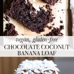 Vegan Chocolate Coconut Banana Loaf on a wooden board