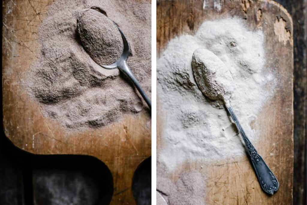 images of teff flour on a wooden board