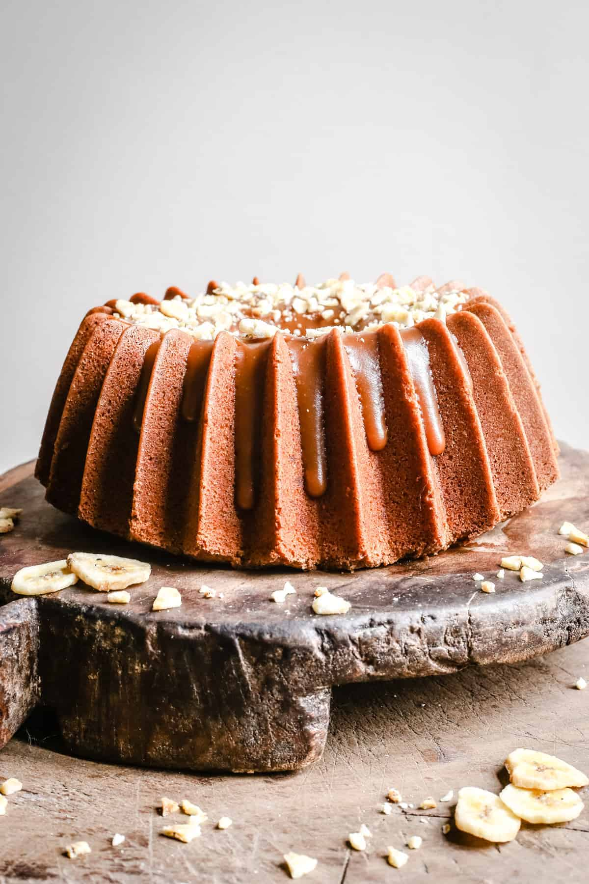 Close up of Banana Rum Caramel Cake