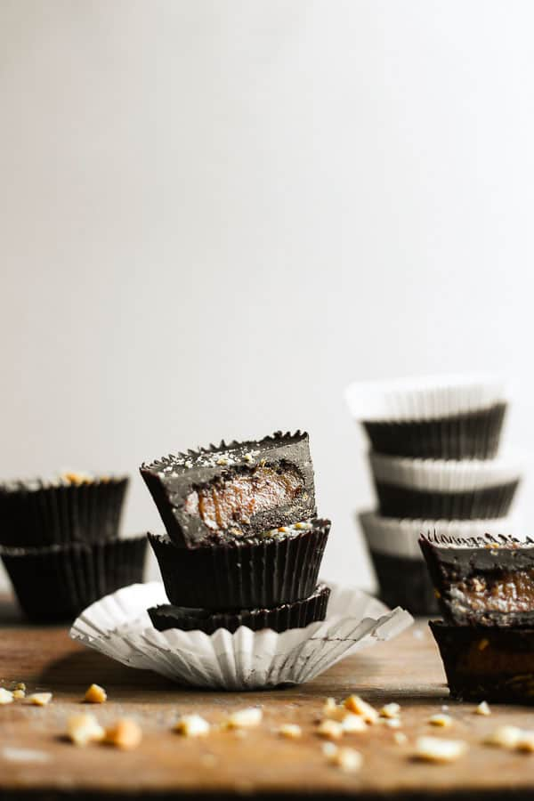 stacks of Chocolate Peanut Butter Caramel Crunch Cups