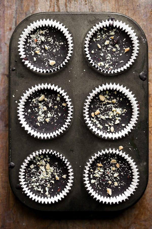Chocolate Peanut Butter Caramel Crunch Cups in a tin