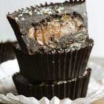 A stack of Chocolate Peanut Butter Caramel Crunch Cups