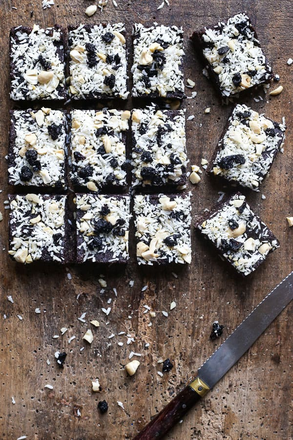 overview of cut Raw Blueberry Coconut Energy Bars