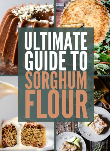 Image collage of different bakes made with sorghum flour and the title Ultimate Guide to Sorghum Flour